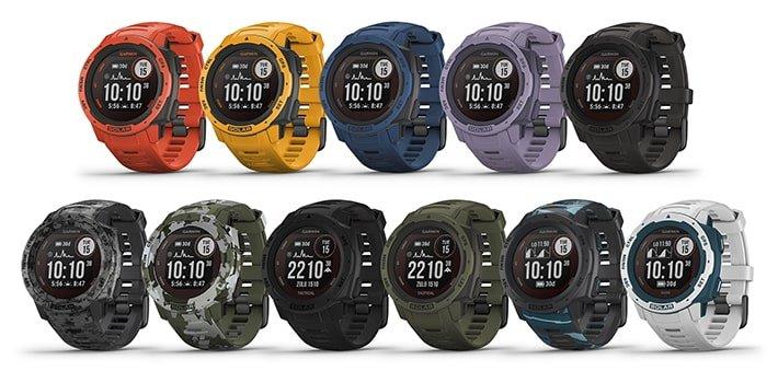 Kleuren van de Garmin Instinct Solar horloges