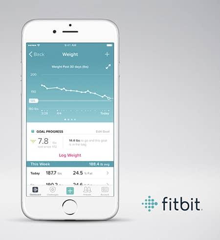 Fitbit iOS app gewicht scherm